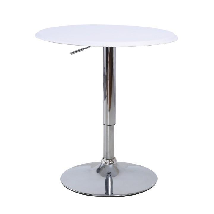 Barový stůl, otočný, s nastavitelnou výškou, chrom / bílá, BRANY