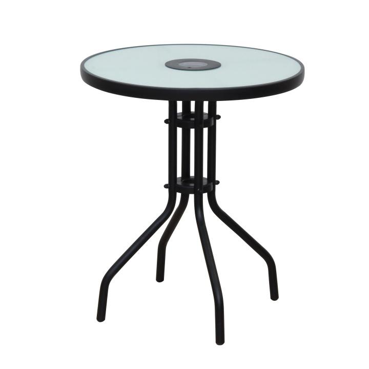 Jídelní stůl vhodný k zahradnímu setu, cen oceli / temperované mlečné sklo, OLIVAN