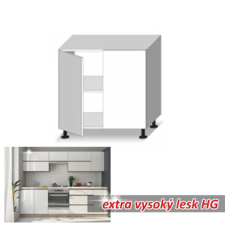Skříňka dolní dvoudveřová, bílý vysoký lesk HG, LINE WHITE