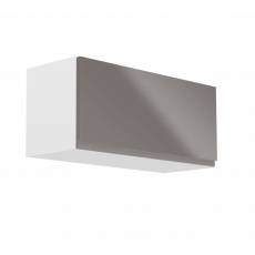 Horní skříňka, bílá / šedý extra vysoký lesk, AURORA G80K