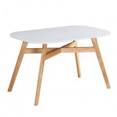 Jídelní stůl, bílá/přírodní, CYRUS 2 NEW