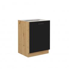 Spodní kuchyňská skříňka, černý mat / dub artisan, Monro 60 D 1F BB
