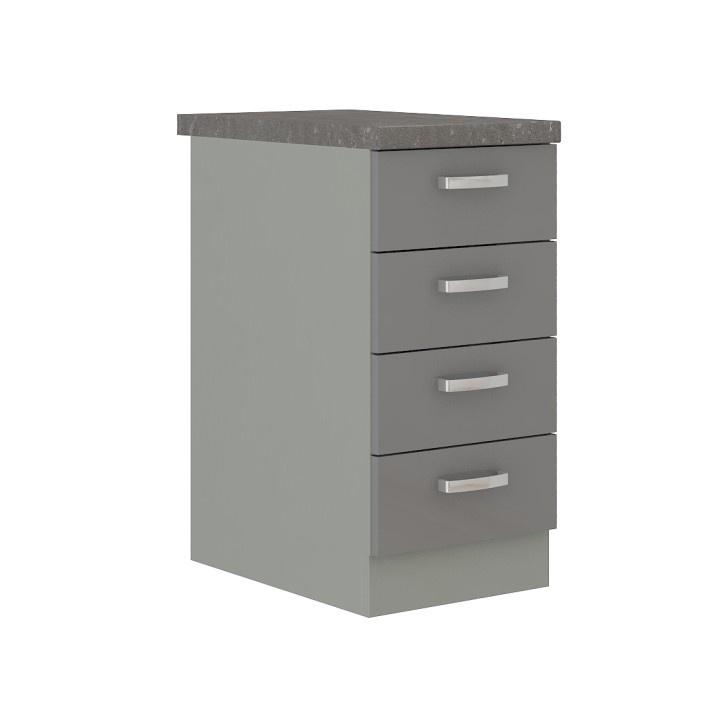 Šuplíkové skříňka dolní, šedá vysoký lesk / šedá, PRADO 40 D 4S ZB