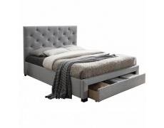 Moderní postel s úložným prostorem, šedá látka, 160x200, SantoIa