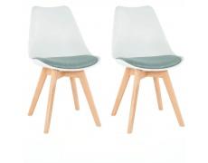 2 kusy, Židle, bílá / zelená, DAMARA