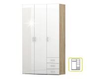 Skříň, bílá extra vysoký lesk HG / dub sonoma, GWEN 70427