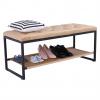 Designová lavice, černý kov / béžová látka 5, VIKAR