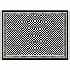 Koberec, černo-bílý vzor, 160x230, MOTIVE