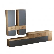 Obývací stěna, dub Wotan / antracit, PLASMA
