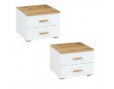 Noční stolek (2ks), dub wotan/bílá, VODENA