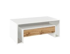 Konferenční stolek, bílá/dub wotan, DAWSON