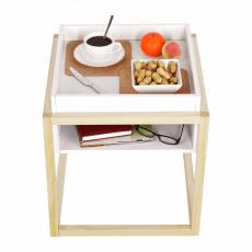Příruční stolek, bílá/přírodní, HAGAN