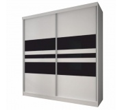 Skříň s posuvnými dveřmi, bílá / černé sklo, 233x218, MULTI 11
