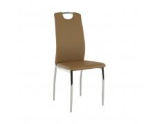 Jídelní židle, ekokůže béžová / chrom, ERVINA