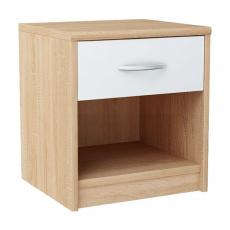 Noční stolek, dub sonoma / bílá, MARKER