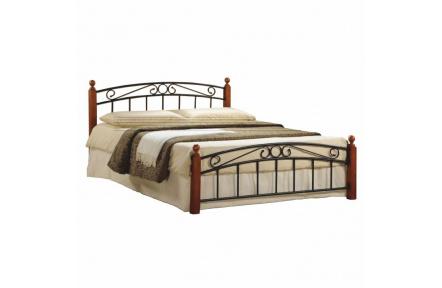 Manželská postel, třešeň / černý kov, 140x200, DOLORES