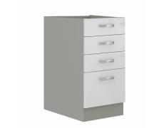 Skříňka dolní, bílá extra vysoký lesk/šedá, PRADO 40 D 4S BB