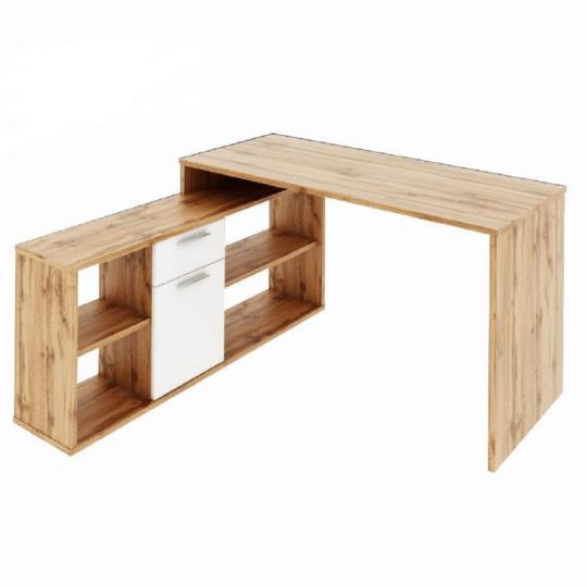PC stůl, dub Wotan / bílá, NOE NEW