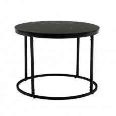 Konferenční stolek, černý mramor/černý kov, GAGIN