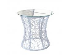 Příruční stolek, bílá, SALMAR NEW