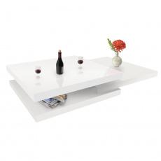 Otočný konferenční stolek, bílá vysoký lesk HG, SONIC