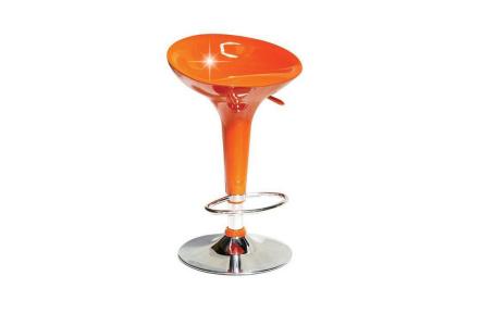 Barová židle, oranžová plast / chrom, INGE NOVA