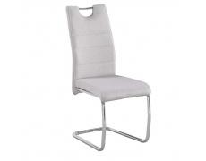 Jídelní židle, béžová látka, světlé šití / chrom, ABIRA NEW