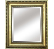 Zrcadlo, dřevěný rám zlaté barvy, MALKIA TYP 10