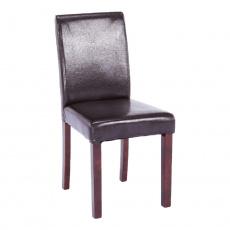 Jídelní židle, tmavohnědá ekokůže / dřevo, VIVA NEW
