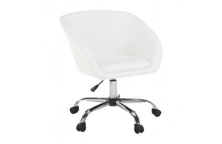 Kancelářské křeslo, bílá ekokůže / kov, LENER