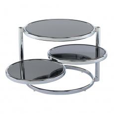 Otočný konferenční stolek, černé sklo / chrom, MOIRA