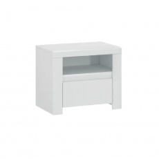 Noční stolek 1S, bílý lesk, LINDY