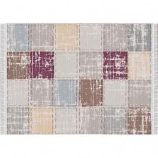 Koberec, hnědá / šedá / bordó / vzor čtverec, 80x150, FIRBI