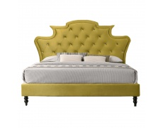 Luxusní postel, zlatá Velvet látka, 160x200, REINA