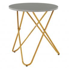 Příruční stolek, šedá/zlatý nátěr, RONDEL