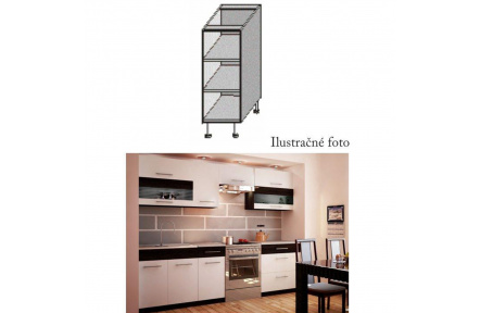 Spodní policová skříňka, bílá / wenge, JURA NEW B DO-20