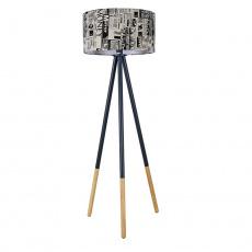 Stojací lampa, černý kov / látka, CINDA TYP 6