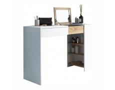 Toaletní stolek / psací stůl, bílá / dub sonoma, ELIS