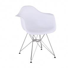Židle - křeslo, bílá + chrom, FEMAN