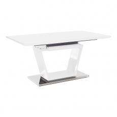 Jídelní stůl, rozkládací, bílá extra vysoký lesk / oceľ, Perak