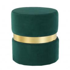 Taburet, smaragdová Velvet látka / zlatý nátěr, VIZEL