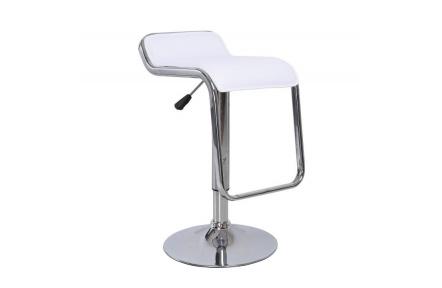 Barová židle, ekokůže bílá / chrom, ILANA