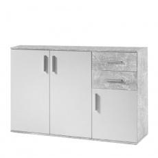 Komoda, bílá / beton, POPPY 2