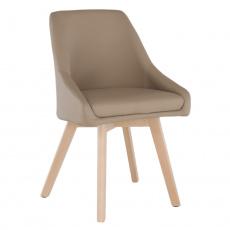 Židle TEZA, béžová ekokůže / dřevěné bukové nohy