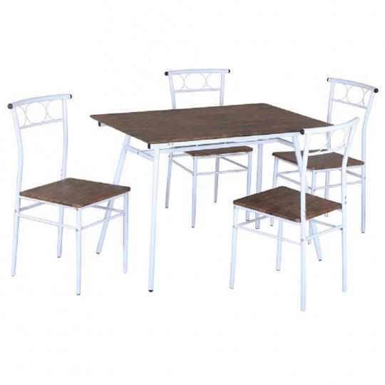 Jídelní set 1 + 4, dřevo / bílý kov, Malabo