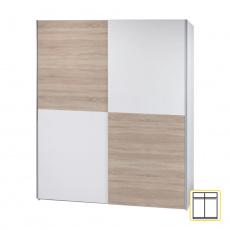 Věšáková skříň s posuvnými dveřmi, bílá / dub sonoma, VICTOR 2 NEW