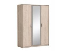3-dveřová skříň se zrcadlem, dub arizona / šedá, GRAPHIC