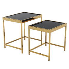 Set 2 konferenčních stolků, gold chrom zlatá/černá, VITOR