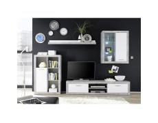 Obývací stěna, bílá / beton, KLARK