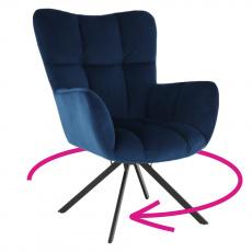Designové otočné křeslo, modrá Velvet látka/černá, KOMODO